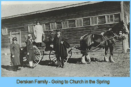 Travelling to Church in the Spring by Horse Team and Buggy