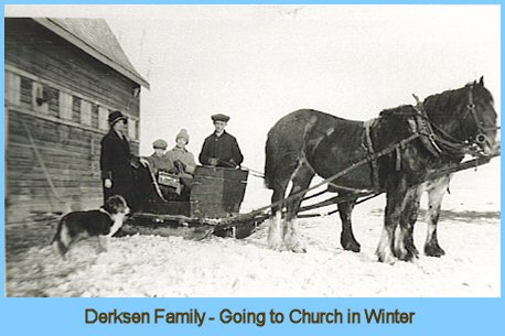 Travelling to Church in the Winter by Horse Team and Sleigh