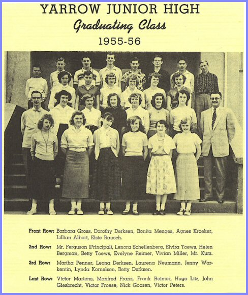 Yarrow School - Grade Nine Class (1955-56)